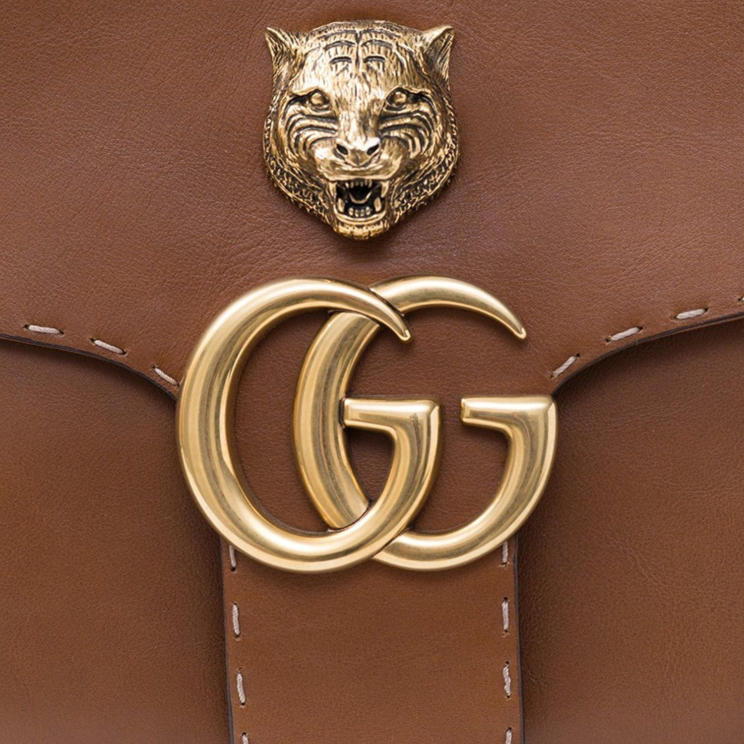 e4d567c069a0 GUCCI GG MARMONT LEATHER SHOULDER BAG Brown Tiger Authentic New - GG Marmont  tote bag and