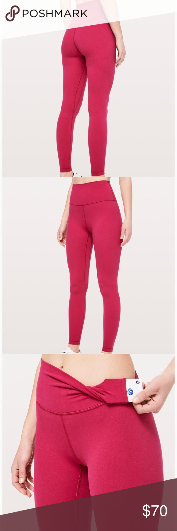 Super Soft Women/'s Red Leggings//Yoga Pants With Flowers Sz M