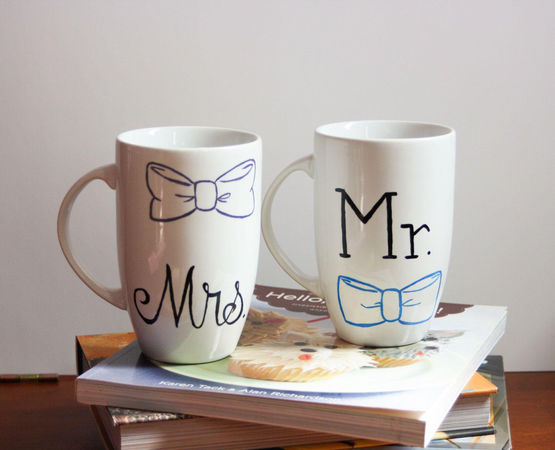 Hair Bow and Bow Tie Mr. and Mrs. Mugs Couple Mug Bridal Shower Mug ...