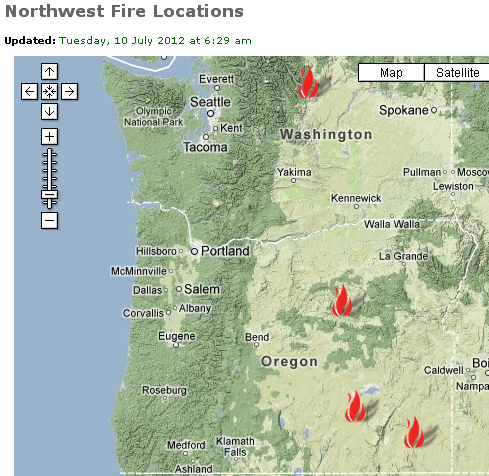 Wild Fire Locations in Oregon as of 7102012 Check out