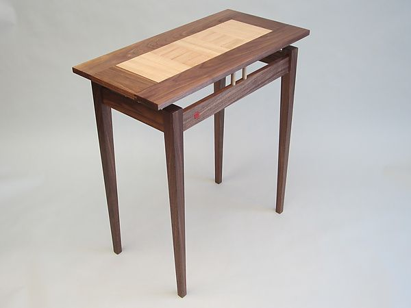 Walnut console with curly maple top by robin zirker wood for Meubles maple