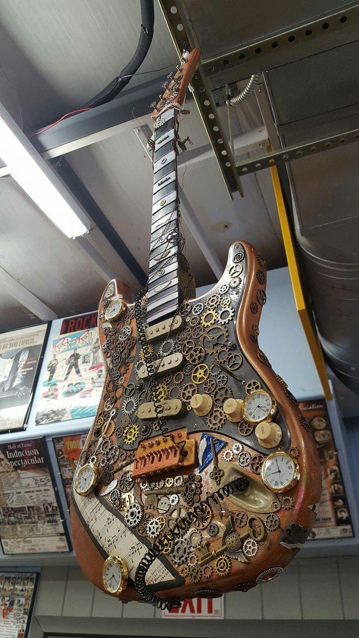 Steampunk Guitar I saw at Lake Okoboji, practically made for you, Harm!