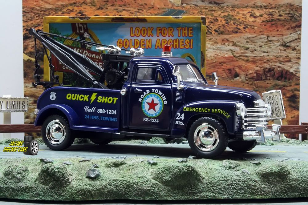 1:38 KINSMART 1953 CHEVROLET 3100 WRECKER TOW TRUCK BLUE Perfect for Diorama use #Kinsmart #Chevrolet