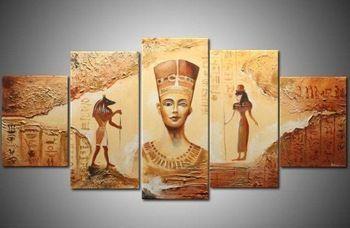 Famous Pharaohs Of Ancient Egypt 5 Panel Canvas Print Wall Art