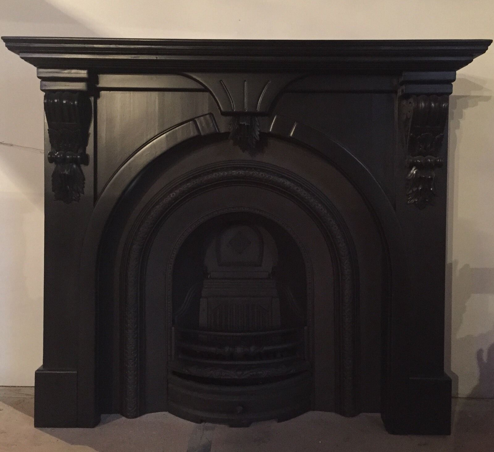 beautiful cast iron fireplace pine surround gas fire or grate inc