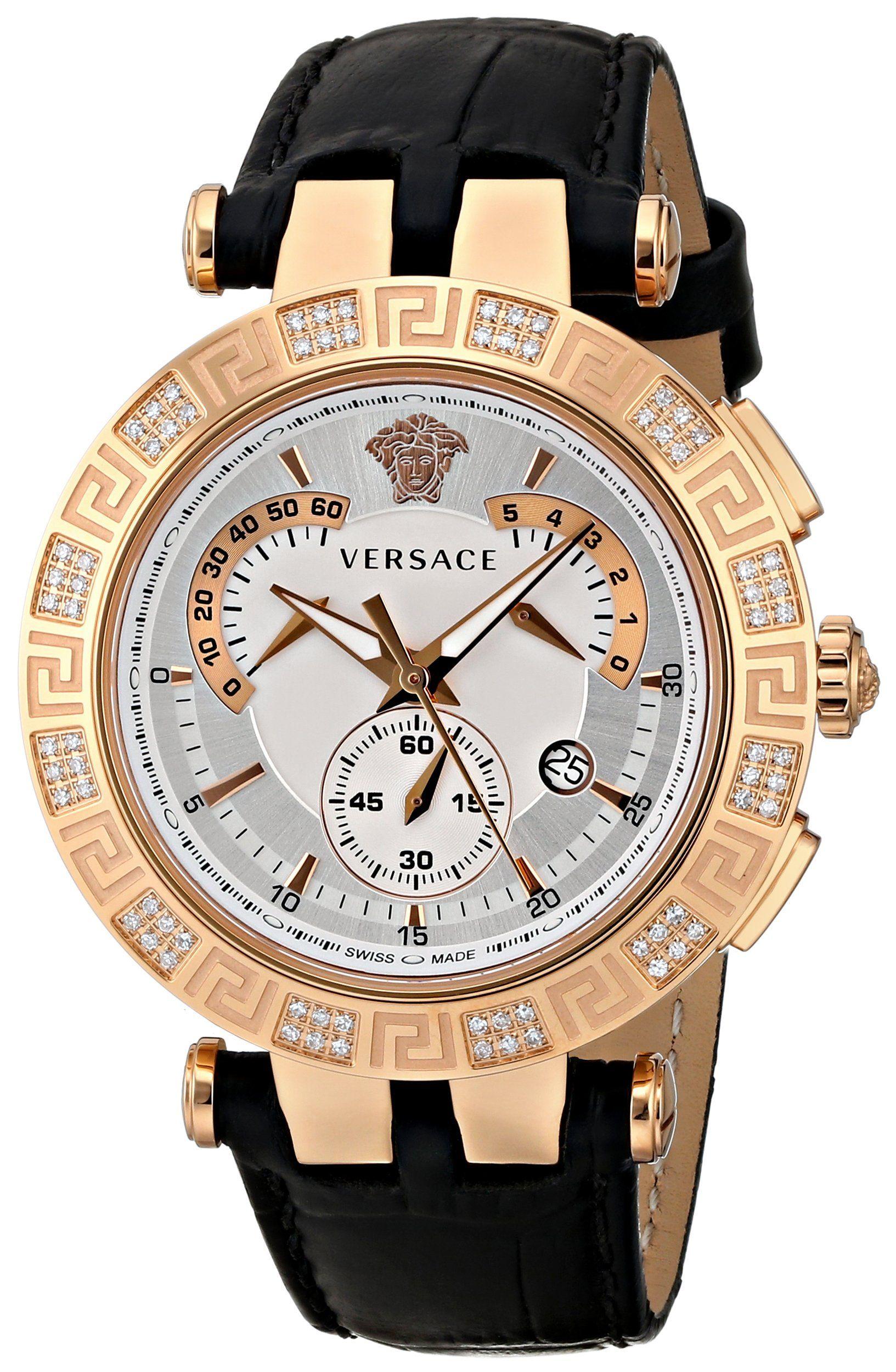 Versace Men's 23C82D002 S009 V-RACE CHRONO Analog Display Swiss Quartz Black Watch