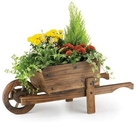 Garden Mile Rustic Ornamental Wooden Wheelbarrow Planter Garden Outdoor Patio Plant Holder Trough Flower Pot Ca In 2020 Kleine Blumentopfe Holzblumen Holz Schubkarren
