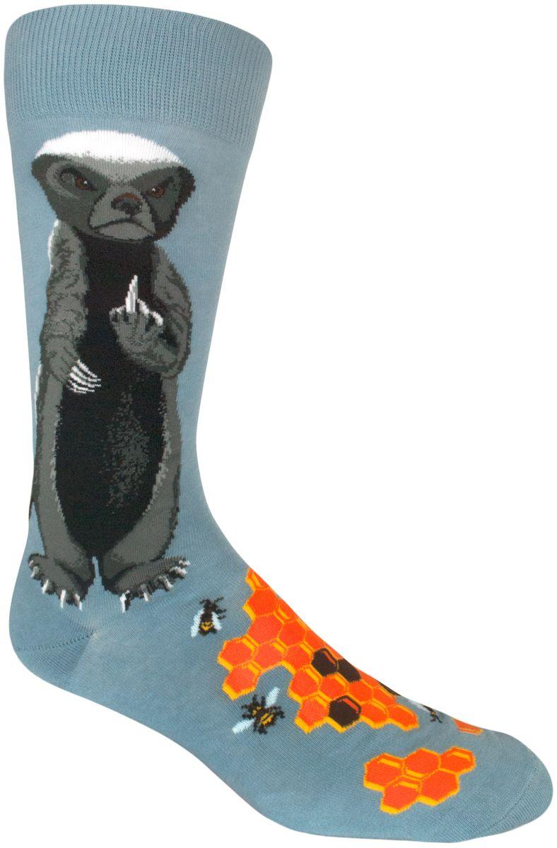 Flip Off The World In These Funny Honey Badger Mens Crew Socks By Flipper Owl Hearty Orange Modsocks