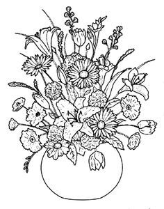 Vase Of Flowers With Images Detailed Coloring Pages Coloring