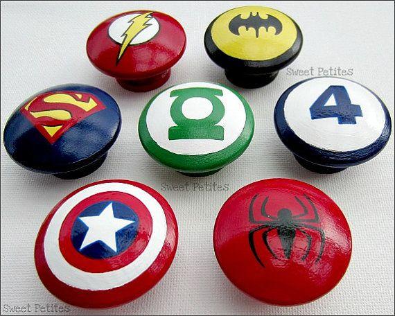 Hand Painted Knob Dresser Drawer Batman Green Lantern Spiderman Superman  Fantastic 4 Flash Set Of 7