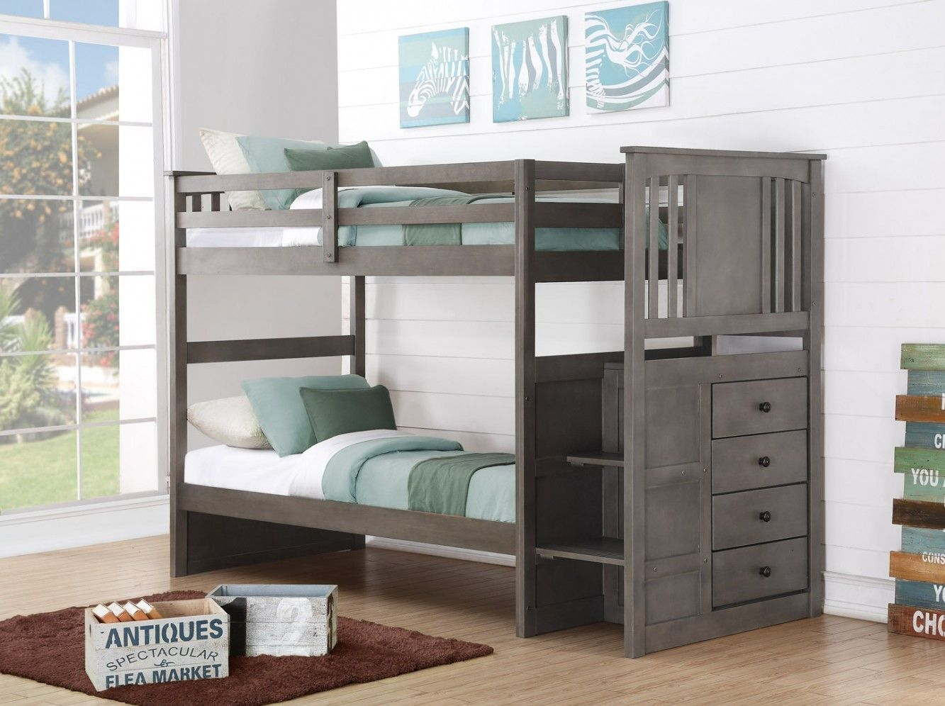 Loft bed with storage stairs  Harrison Grey Twin Bunk Bed with Stairs  Storage drawers Bunk bed
