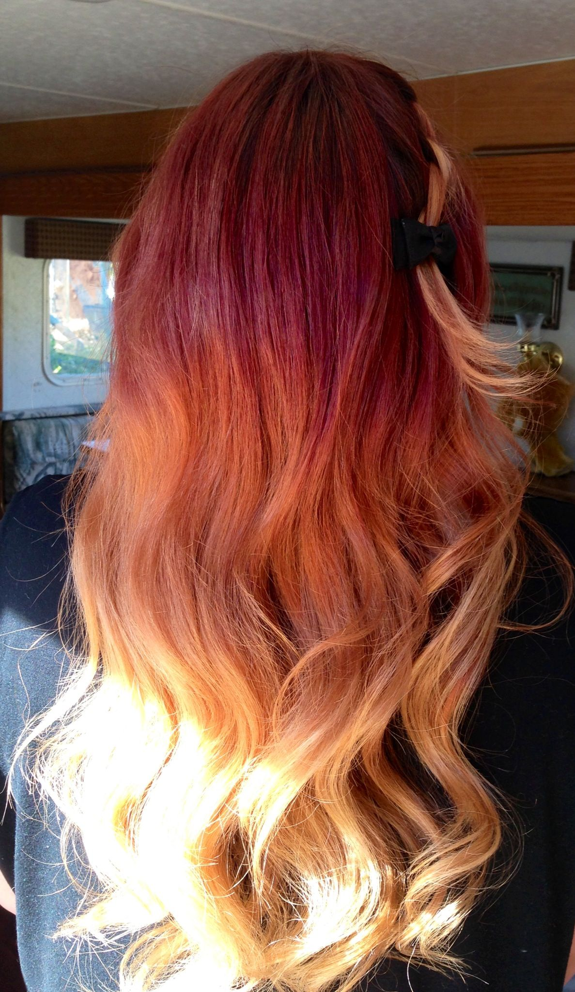 red to blonde ombre hair. i like the mid to lower portion of