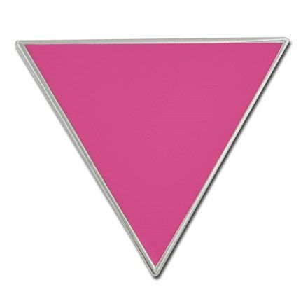 pink triangle pin 7 8 x 1 nickel plated with pink soft enamel