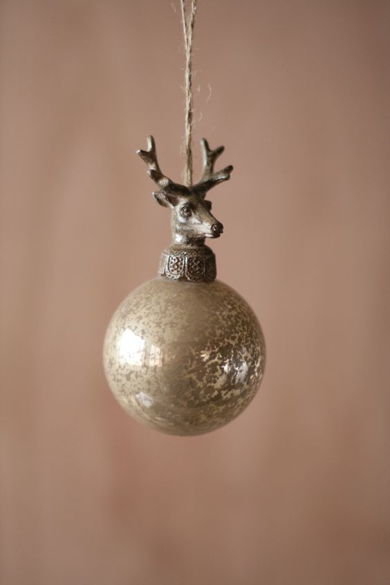 kalalou glass ball with deer christmas ornament antiqued and timeless these glass ornaments are topped with beautifully detailed cast metal deer finials - Wholesale Vintage Christmas Decorations