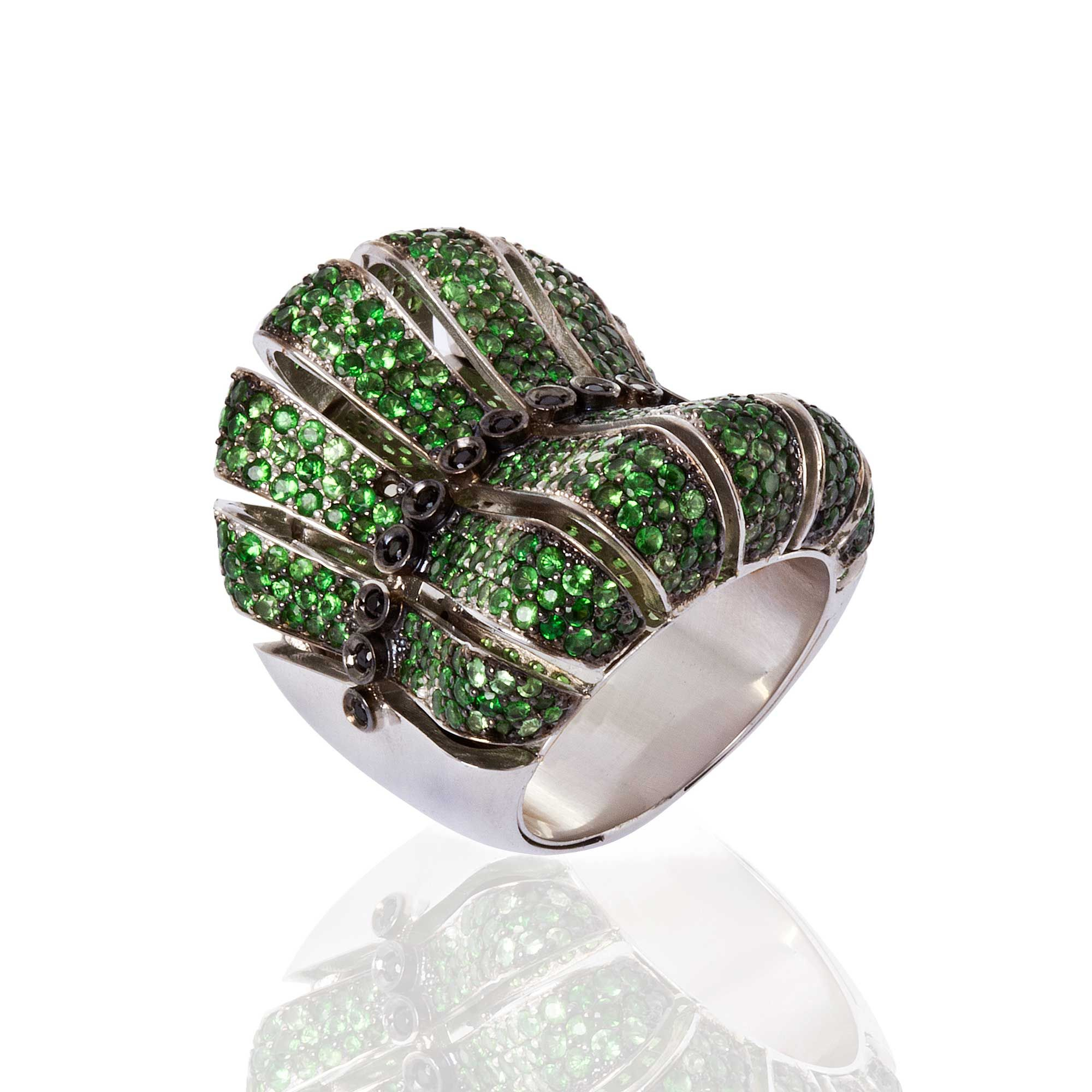collections d colours ring of tsavorite dc diamond garnet mandarin rings degem engagement