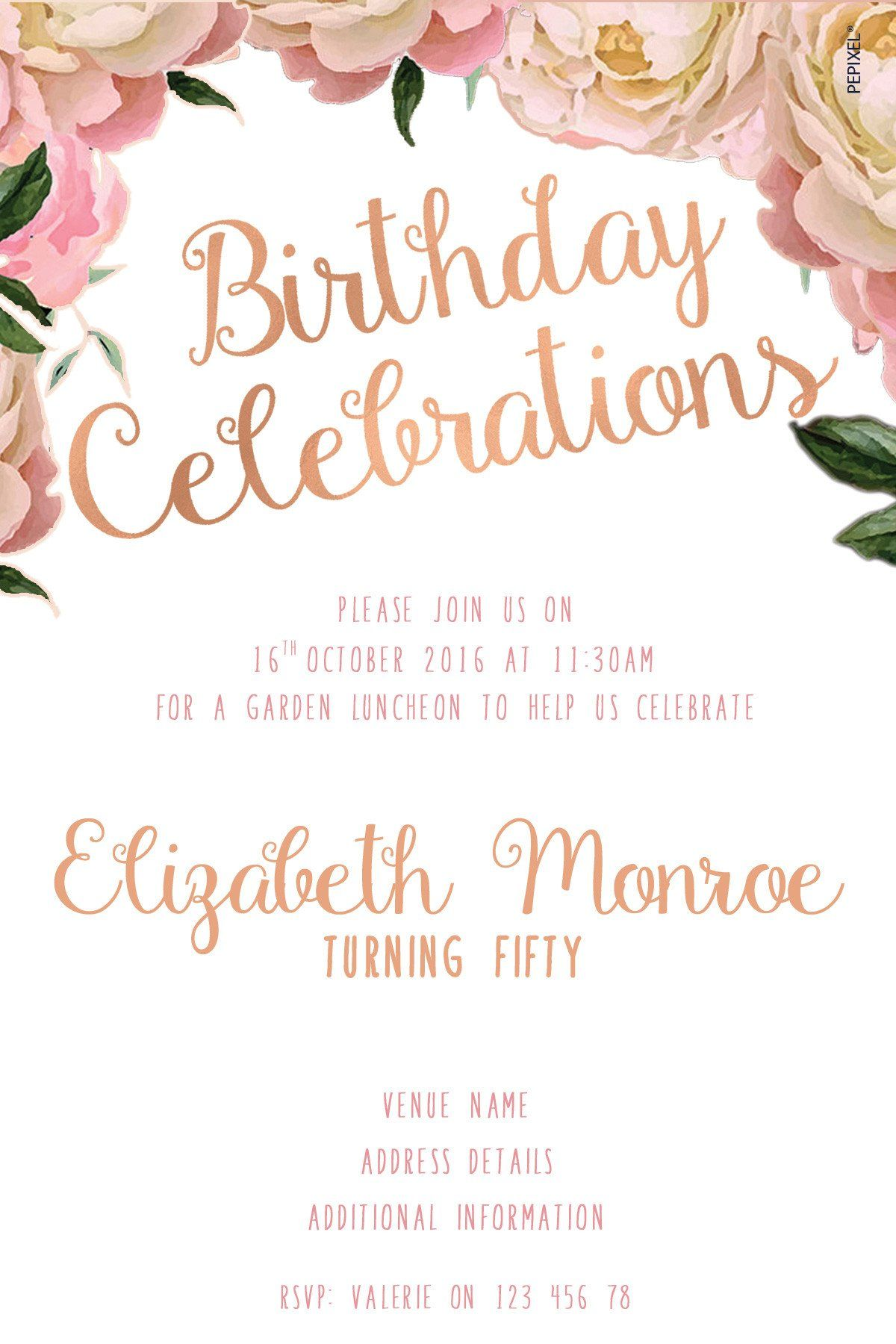 50th Birthday invitations - Elegant Peonies | MOM\'s Birthday ...
