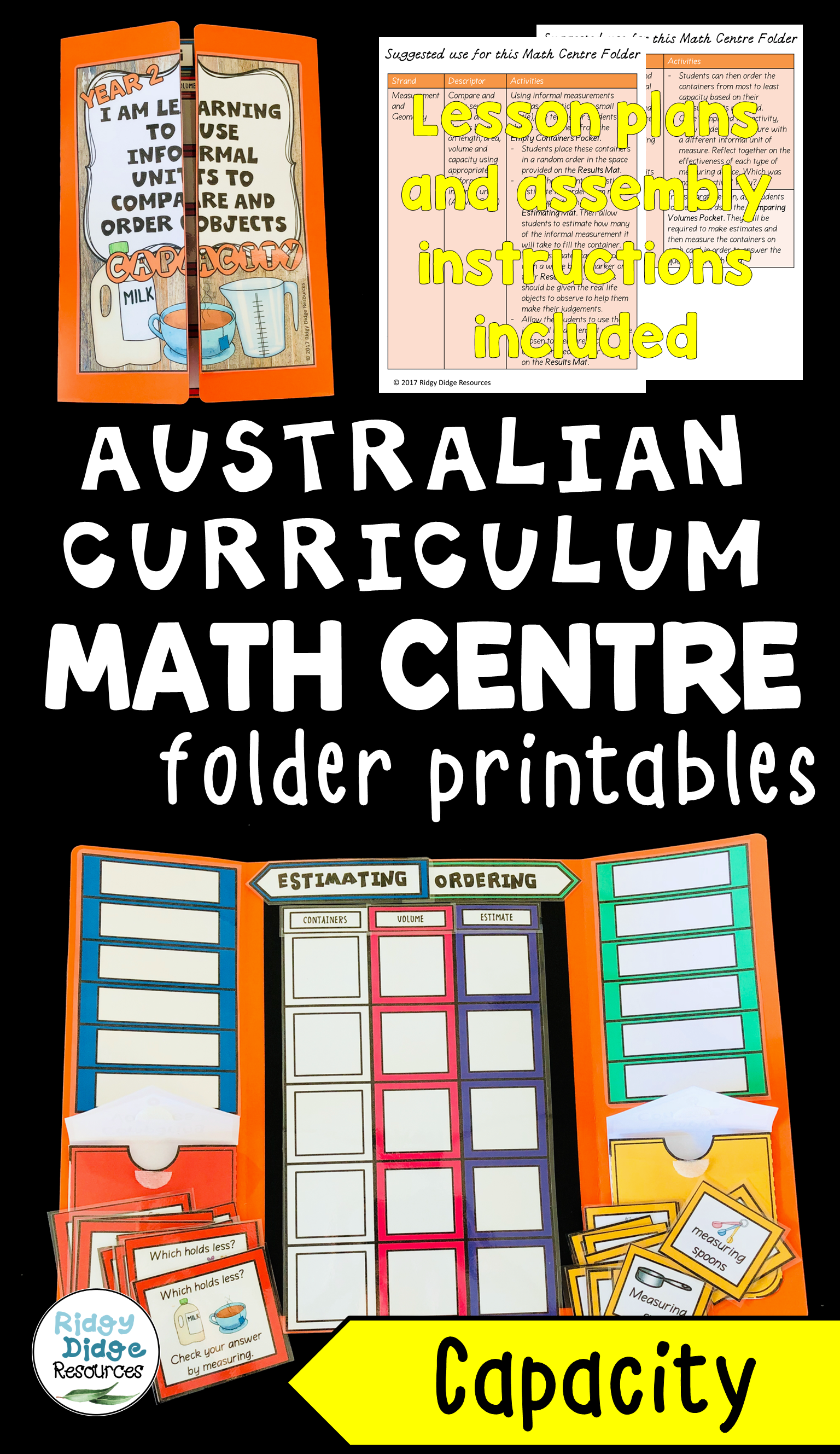 Year 2 Australian Curriculum Capacity Math Centre Activity Folder