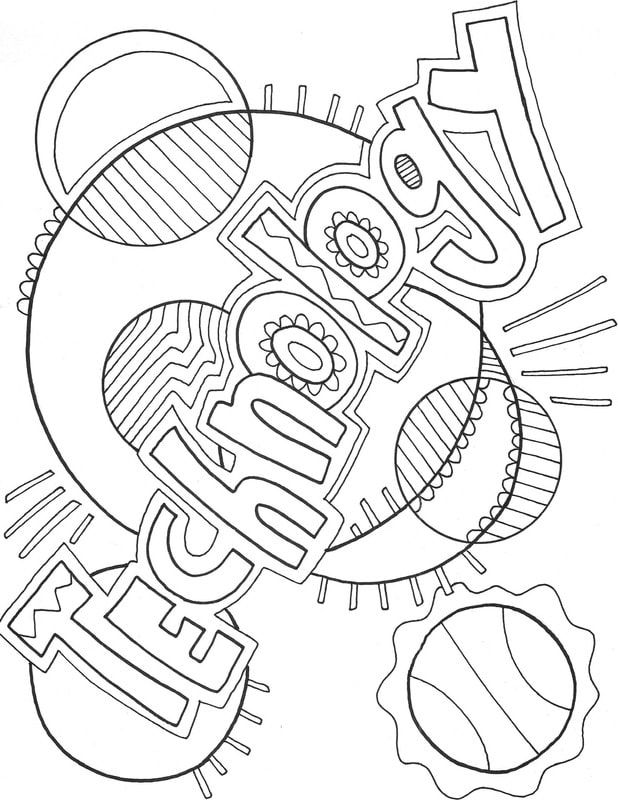 Computer And Technology Coloring Pages At Classroom Doodles