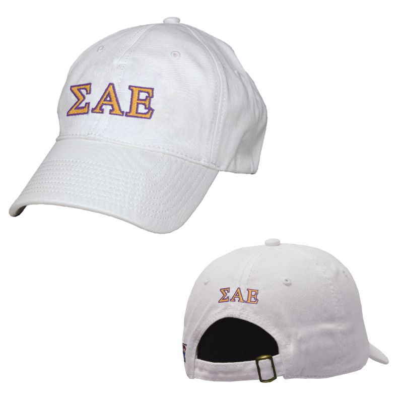 campus classics sae white greek letter adjustable hat by the game 1895