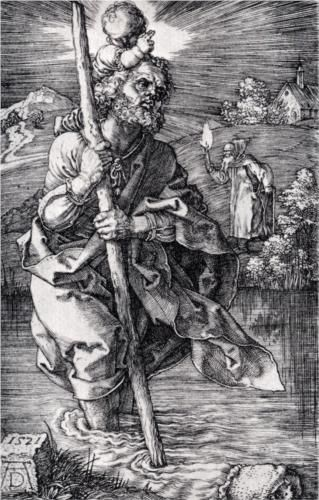St Christopher Facing to the Right. Durer. 1521. Engraving. 117 x 75 mm. Metropolitan Museum of Art. New York.