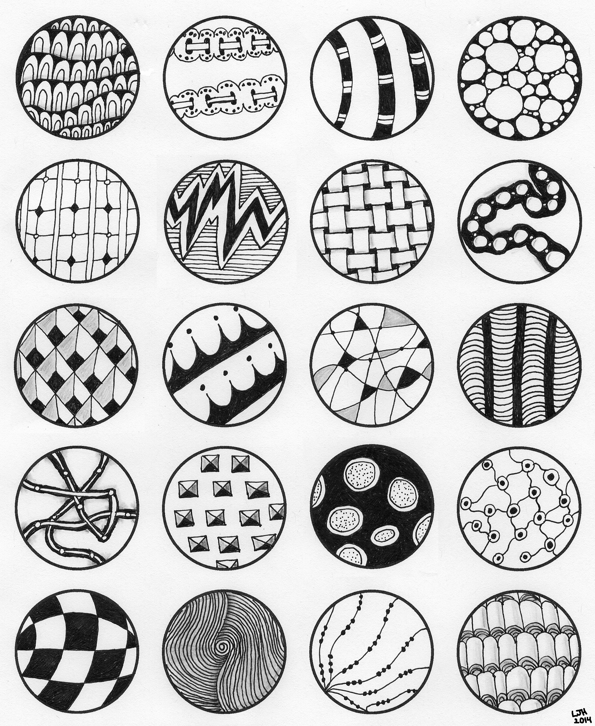 Easy Zentangle Patterns In Circles on Circle Worksheets Free