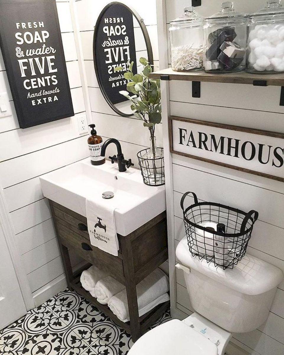 110 spectacular farmhouse bathroom decor ideas 21