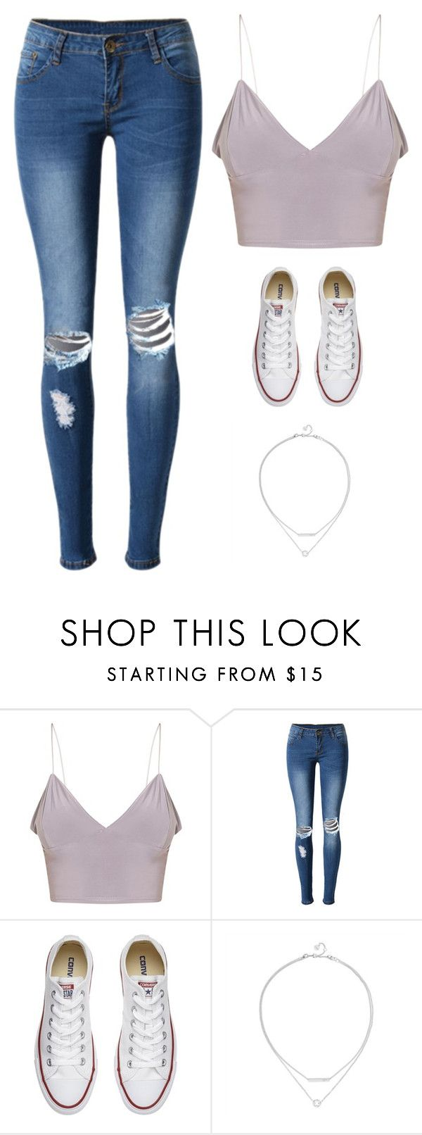 """""""Untitled #3422"""" by twerkinonmaz ❤ liked on Polyvore featuring WithChic and Converse"""