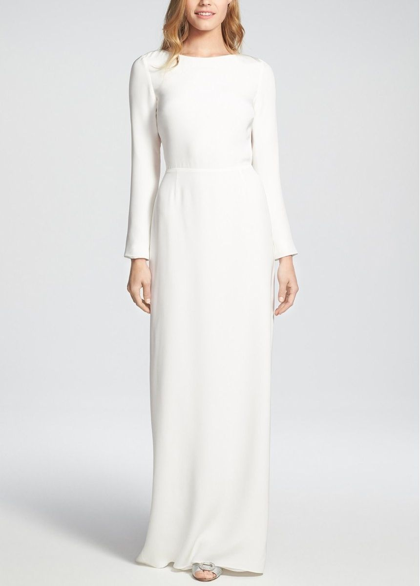 Long sleeve casual wedding dress  Deceptively demure from the front and decidedly seductive from the