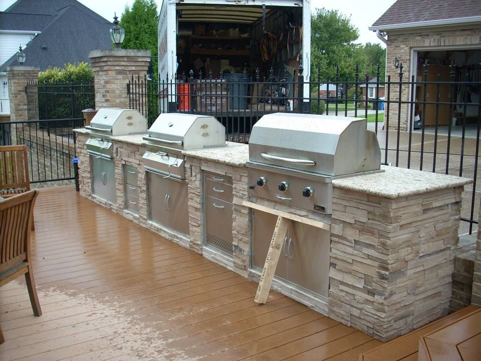 A Grillers Dream One Gas And Two Charcoal Built In Grillsthat Mesmerizing Outdoor Kitchen Charcoal Grill Decorating Inspiration