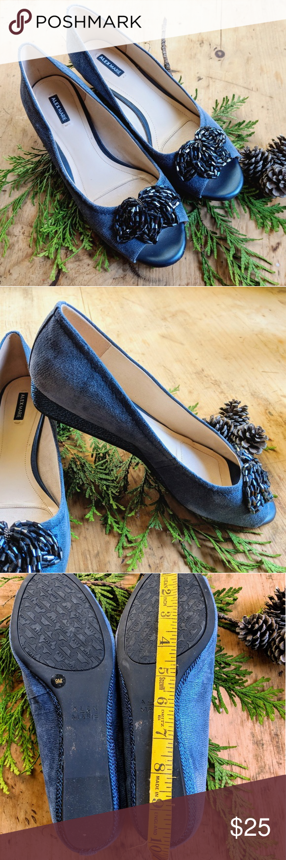 66aba85c10653 Alex Marie Blue Peep Toe Wedge Size 9M Dazzling blue wedges by Alex Marie.  Not