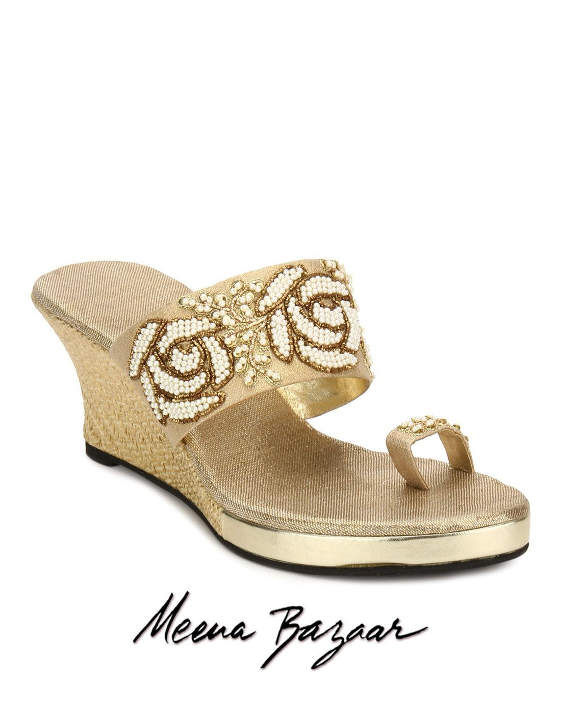 beige-wedges-with-pearl-work