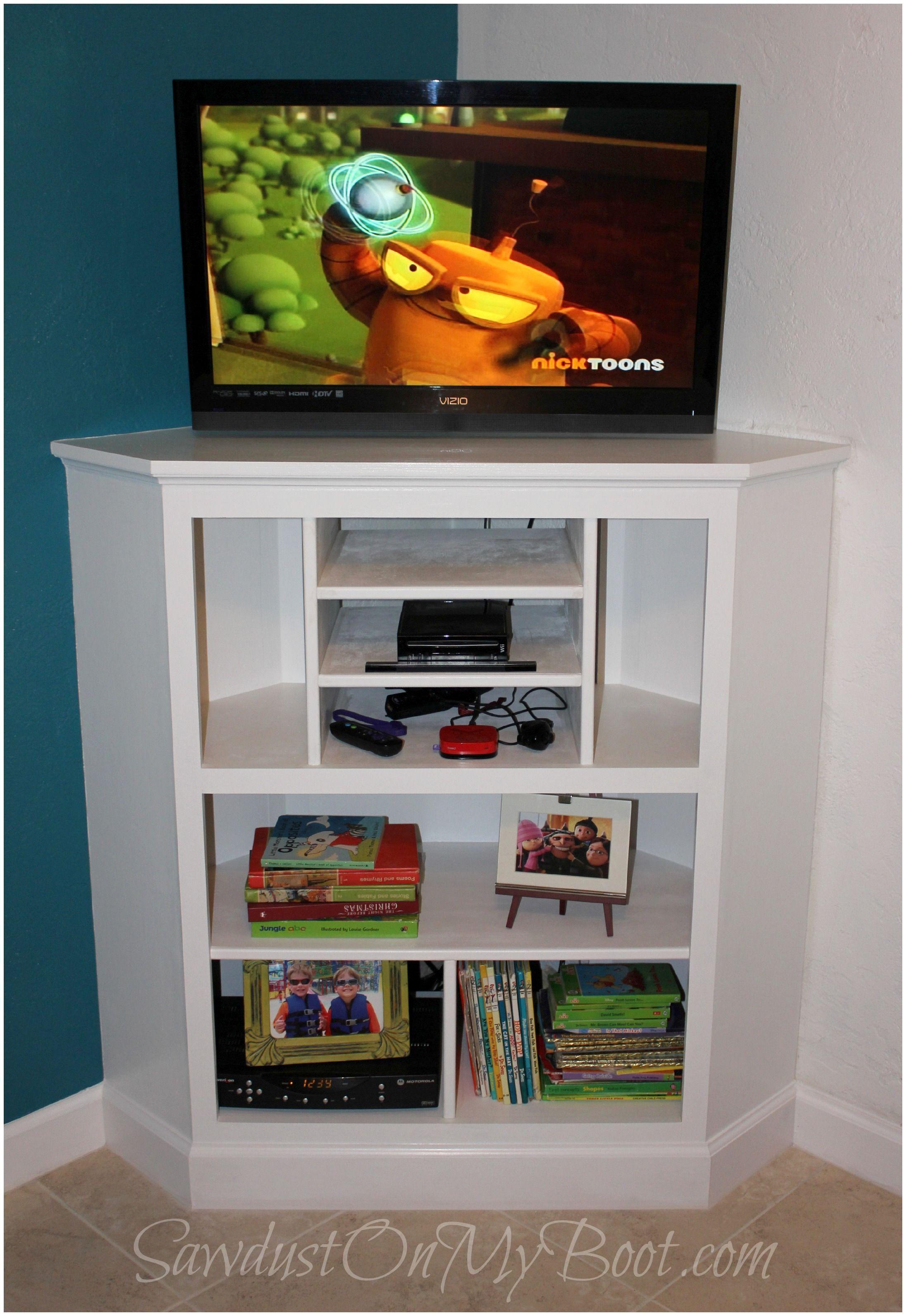 Built In Corner Media Cabinet #sawdustonmyboot