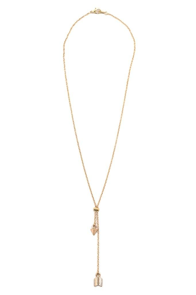 Both delicate and brave, this necklace features two rose-tinted charms representing the ends of an arrow.