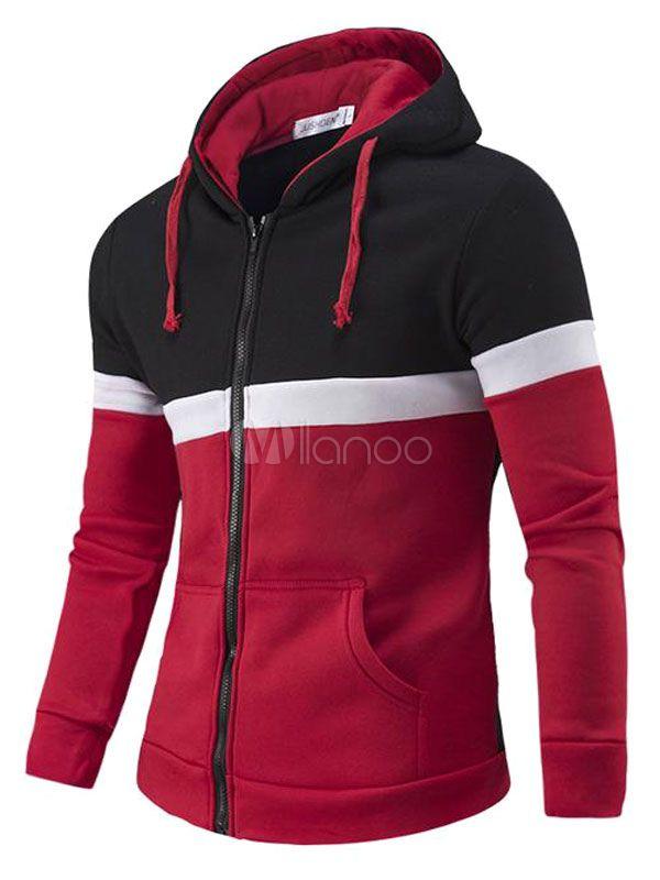 e763386aa9 Chaqueta con capucha roja manga larga cremallera contraste Color Casual con  capucha de algodón hombres