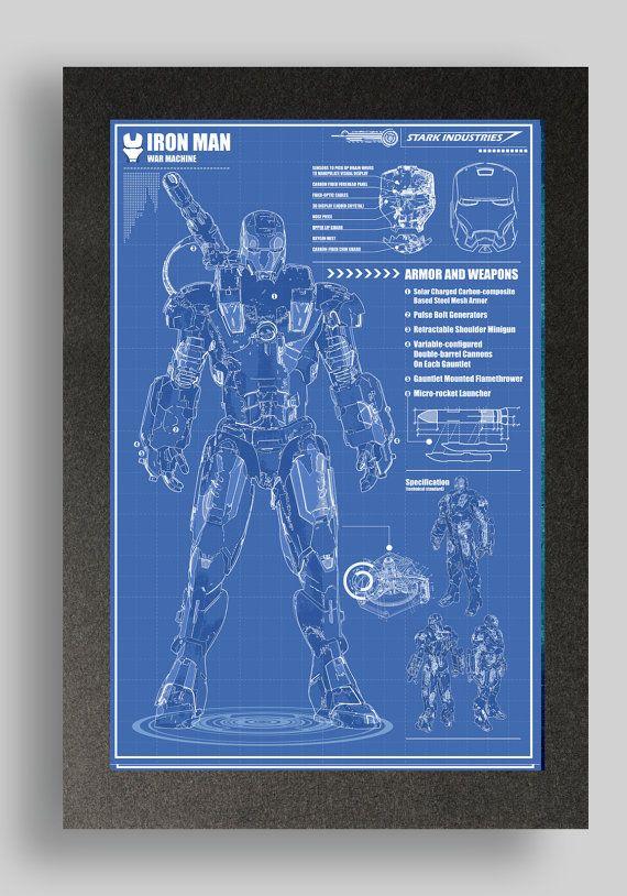 Iron Man war machine Suit Blueprint