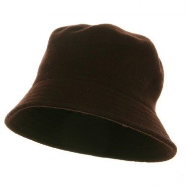 Wool Bucket Hat with Stitches-Brown