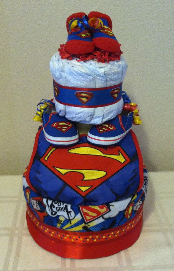 Baby Boy Superman 3 Tier Diaper Cake With Homemade Baby Blanket
