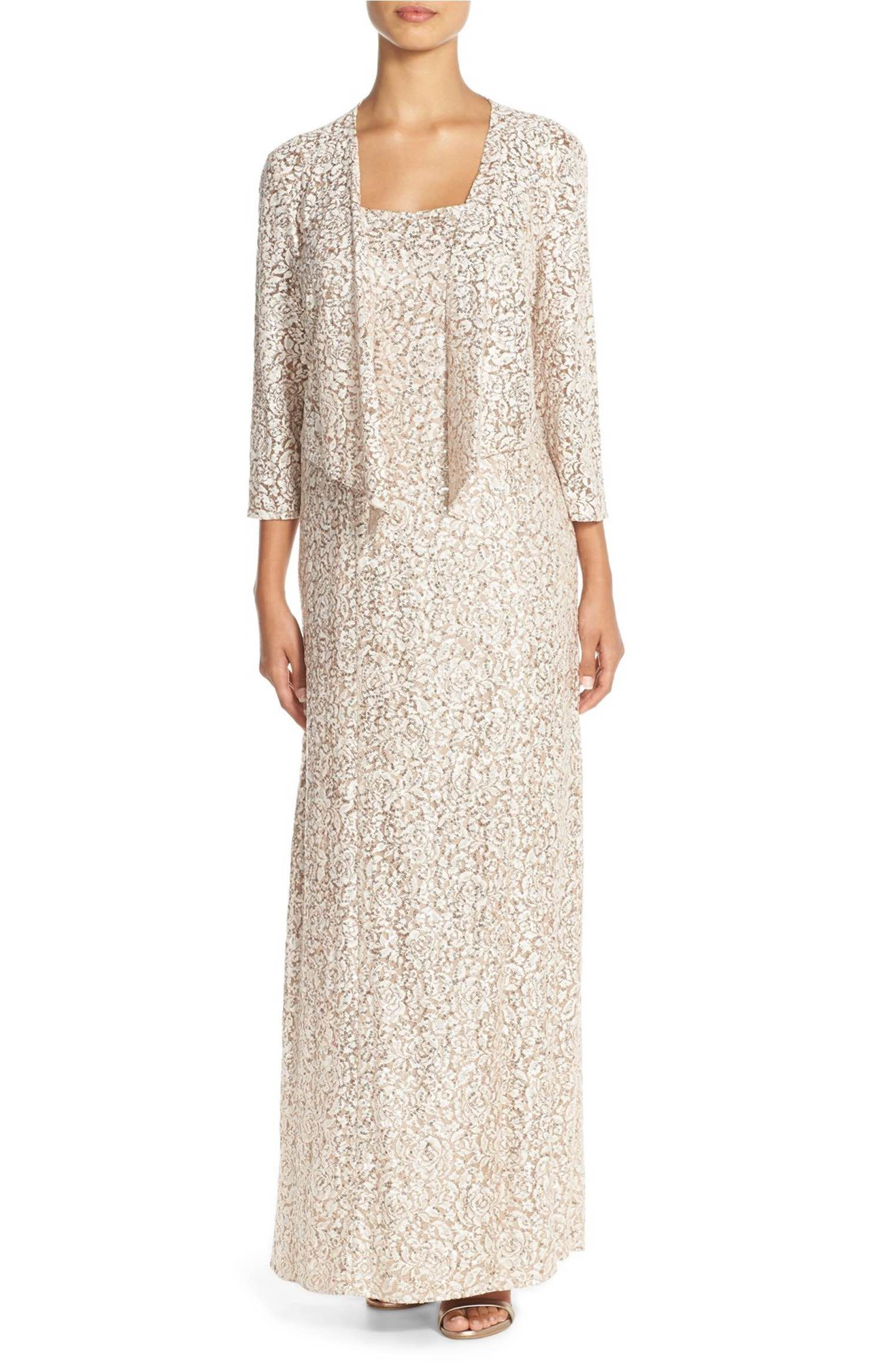 Main Image - Alex Evenings Sequin Embroidered Mesh A-Line Gown ...