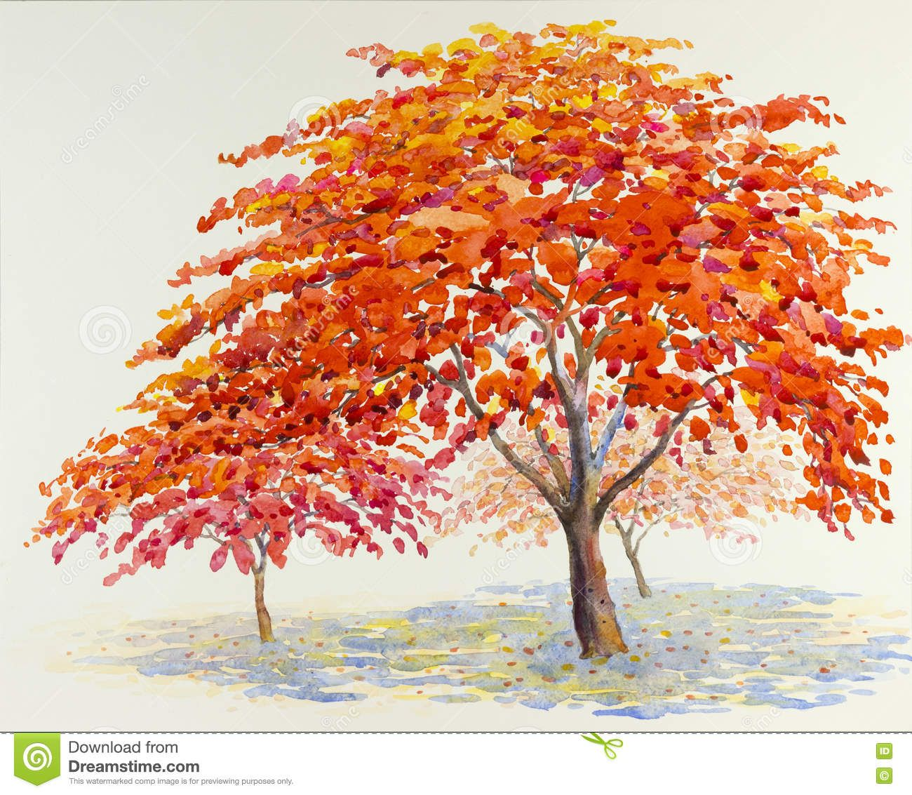 Photo A Propos Couleur Rouge Et Orange De Peinture De Paysage