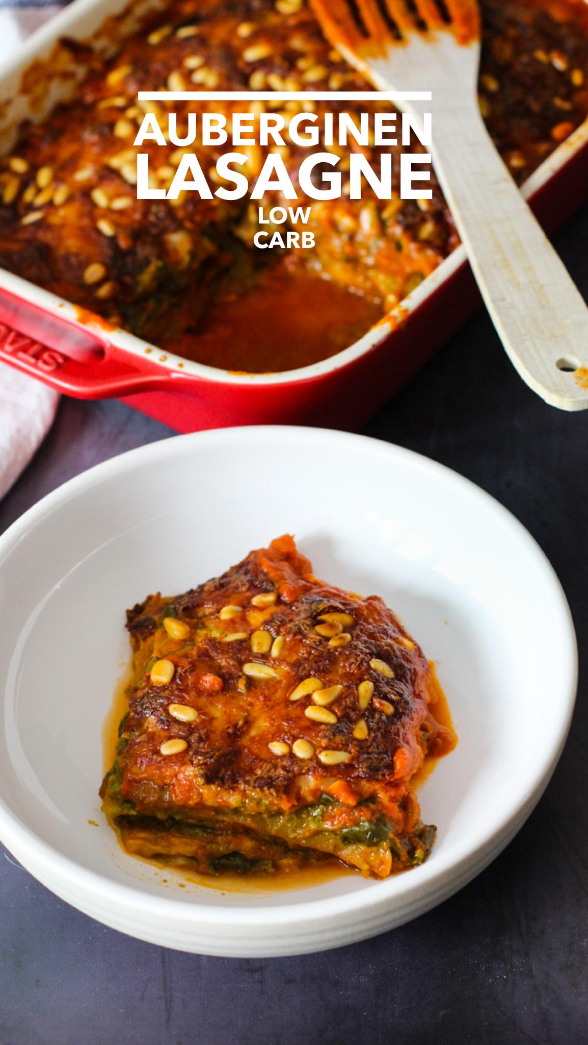 Auberginen Lasagne. Low Carb und ohne Fleisch.