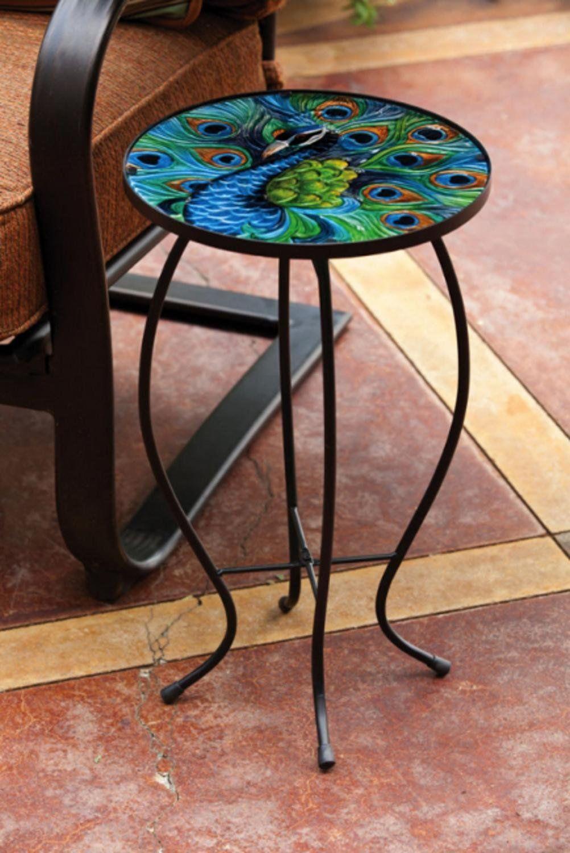 Amazon.com : Evergreen Garden Outdoor-Safe Round Peacock Glass and
