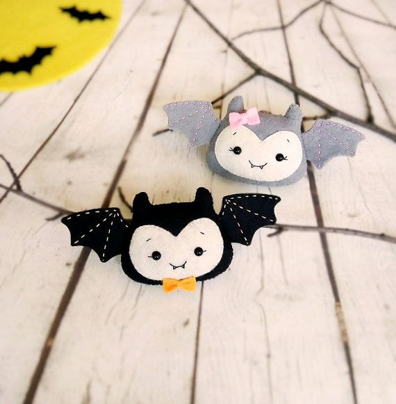 halloween decorations bat toys felt set of 2 bats spooky home ornaments gift for kids kawaii