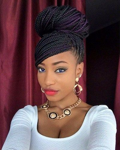 braided updos box braid bun