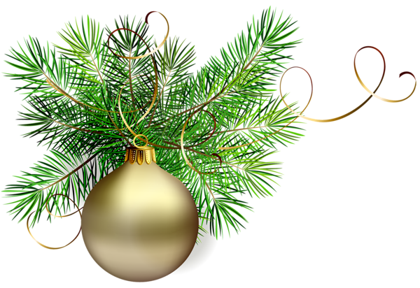 Christmas Graphics Transparent.Transparent Gold Christmas Ball With Pine Clipart Png Uri