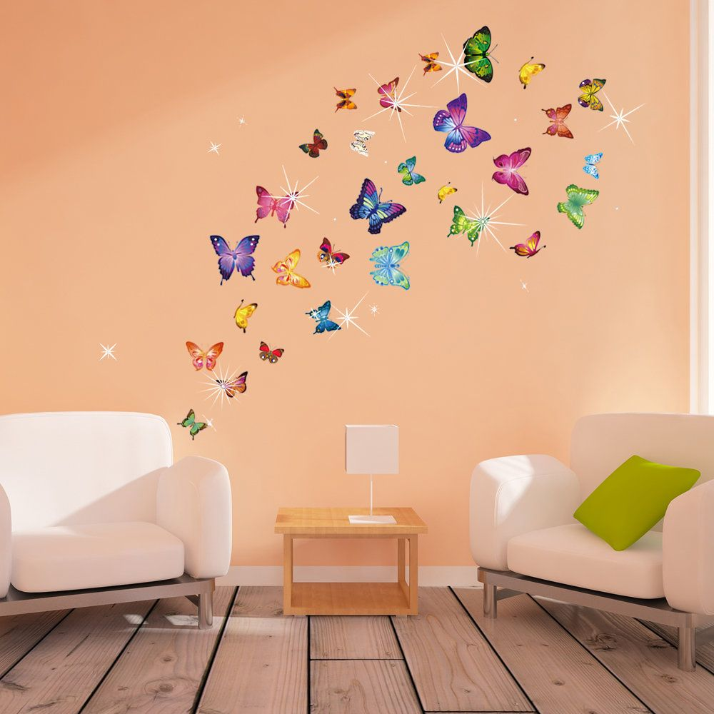 Colorful Butterflies and Swarovski Wall Decal | Products | Pinterest ...