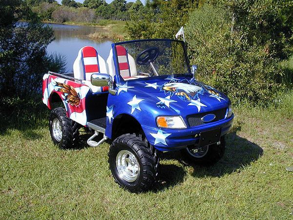 Ford Pick-up Golf Cart Kit w/American Flag Wrap~ | golf ... on golf cart body wraps, golf cart decals stripes, golf cart wraps and decals, golf cart ohio state flag, golf bag with american flag, golf cart flag pole, golf cart wrap stripes, custom golf cart american flag, golf cart wrap camo, golf cart wrap canadian flag, golf cart wrap blue, golf cart wrap templates,