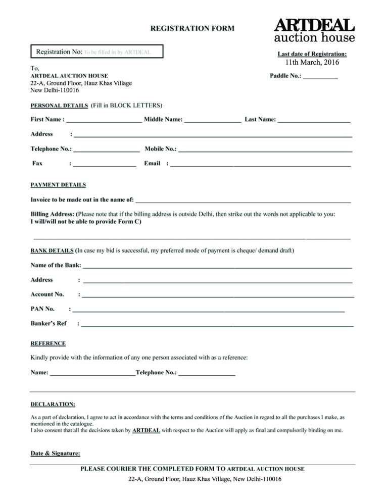 Registration Form Templates Word Excel Fomats Registration
