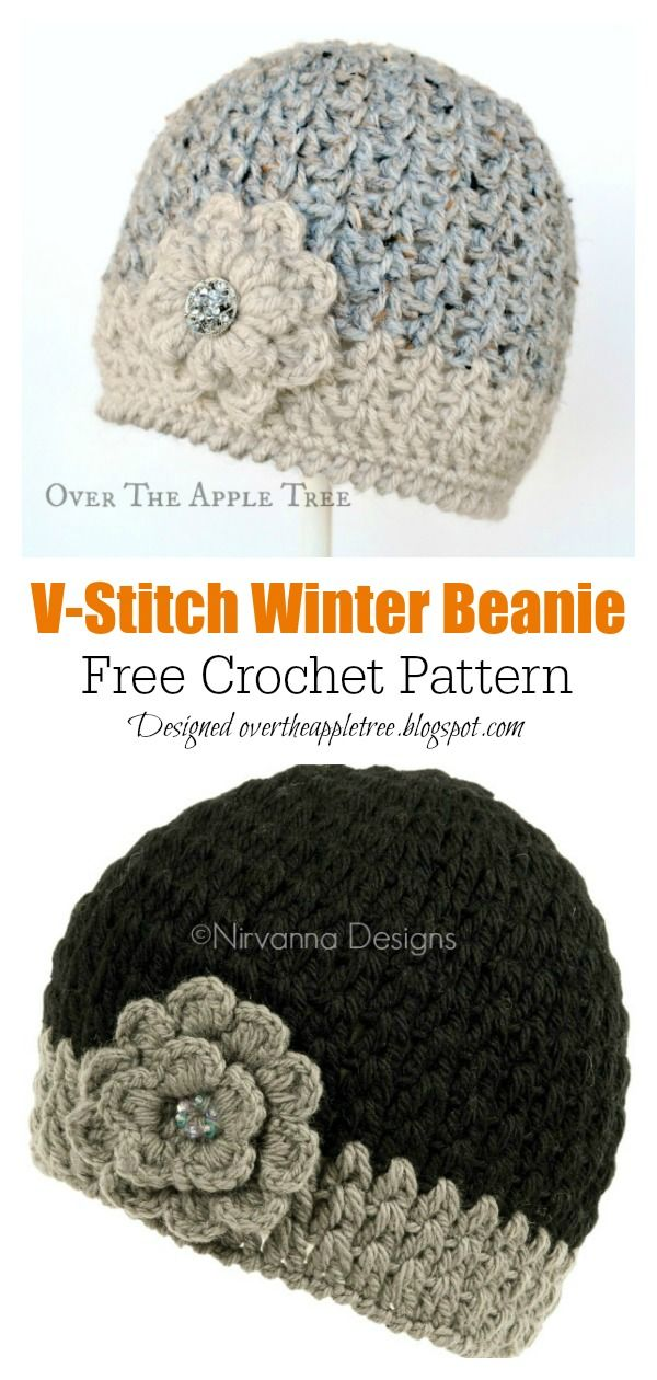 V Stitch Hat Free Crochet Pattern