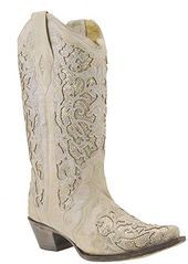 Amazing offer on Corral Womens White Glitter Inlay  Crystals White Cowgirl Boots online Amazing offer on Corral Womens White Glitter Inlay  Crystals White Cowgirl Boots o...
