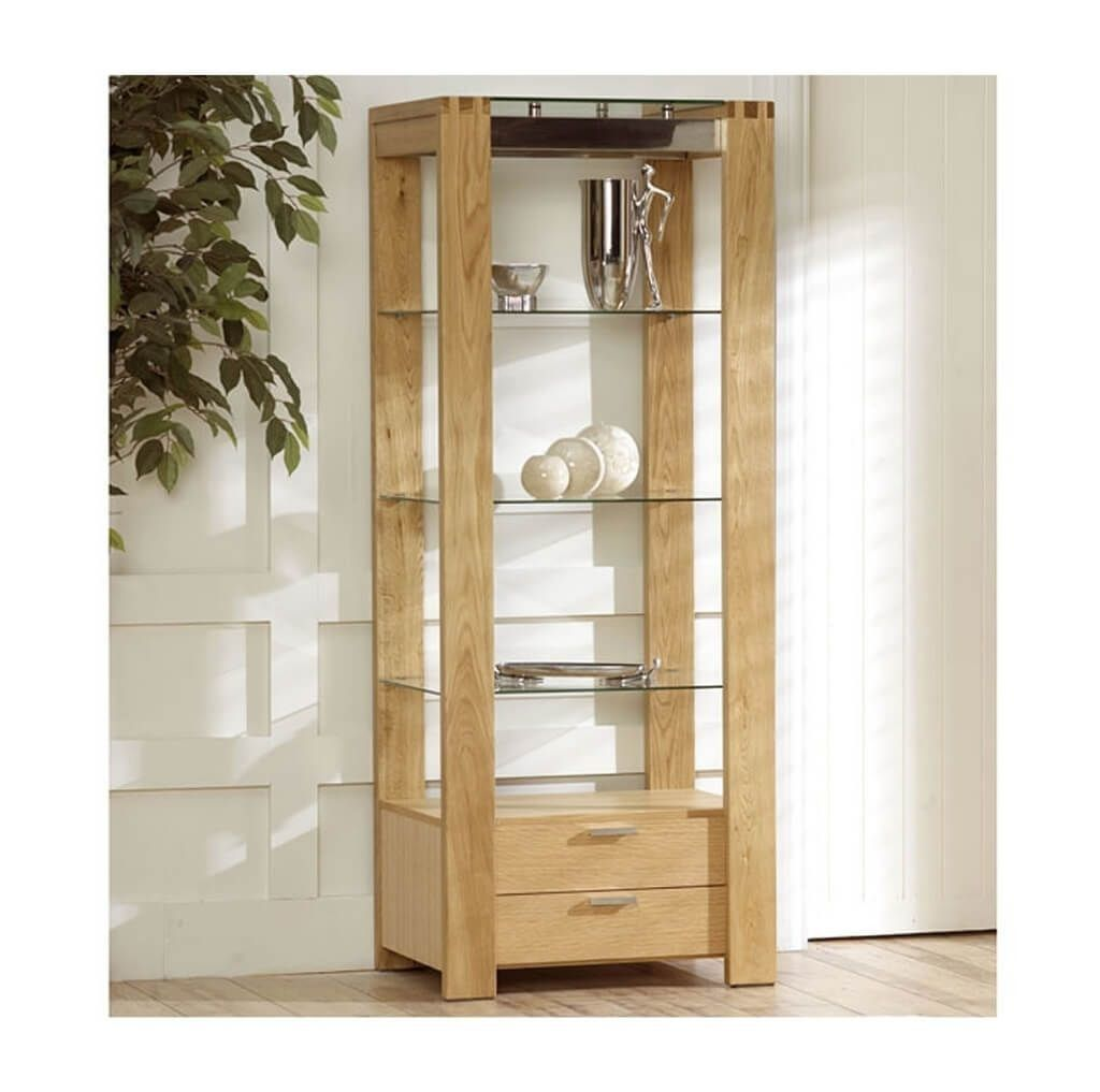 Fascinating solid oak wood shelving unit with glass shelf